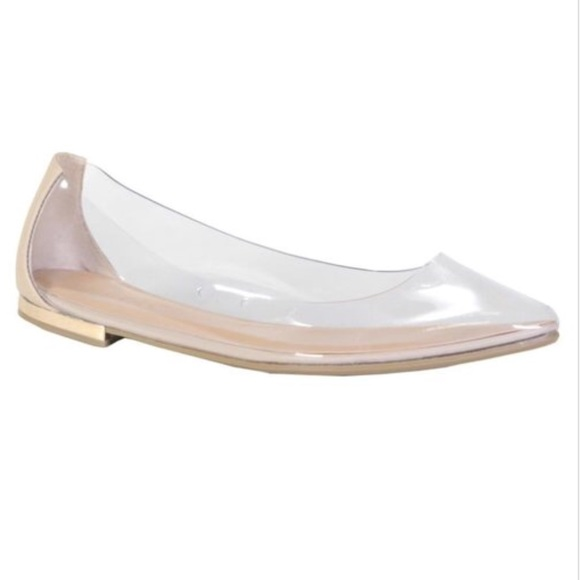 2b5aa79b408 Ballerina Flat Pointy Transparent Nude Clear Shoes
